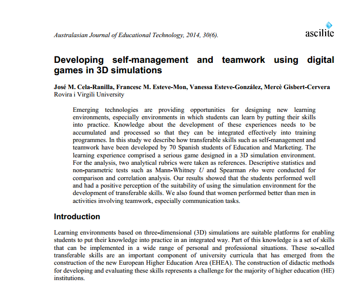 Developing self-management and teamwork using digital games in 3D simulations