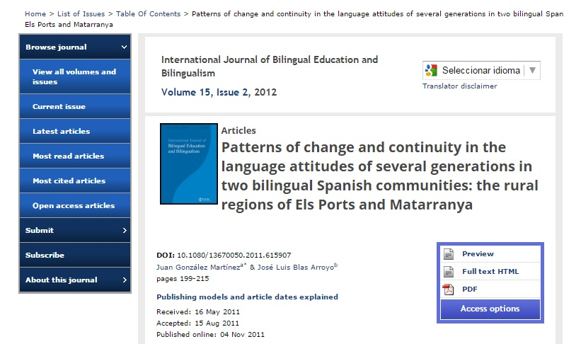 Patterns of change and continuity in the language attitudes of several generations in two bilingual Spanish communities: The rural regions of Els Ports and Matarranya.